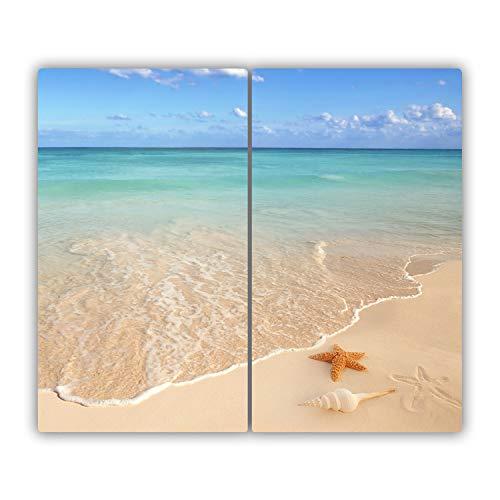 Tulup Planche À Découper - 2x30x52cm - Protection Plaque Induction Cuisson Tapis de Découpe Verre Trempé - Étoile De Mer Sur La Plage