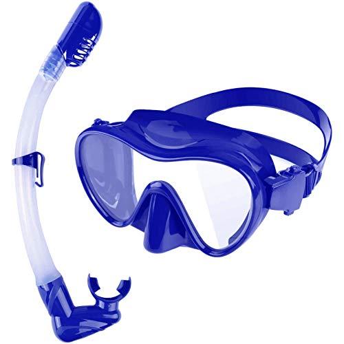 Juego de Snorkel seco, máscara de Buceo sin Marco a Prueba de Fugas con Lente de Vidrio Templado antivaho, fácil de Respirar, Tubo de Snorkel Plegable, (Azul)