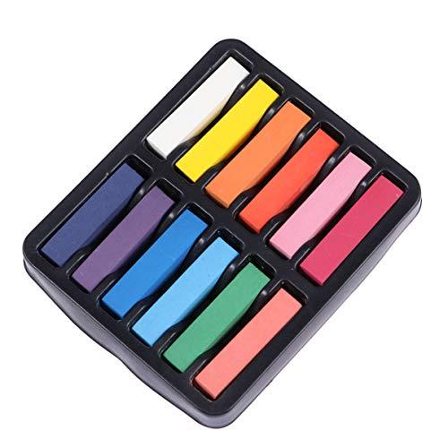 VALICLUD 12 Piezas de Tizas para El Cabello Lavables Temporalmente Tiza Teñida Desechable Crayón para El Cabello para Niñas Y Adultos