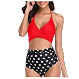 LHWY Mujer Bikini Traje de Baño Bañador Halter Bandage Wrap Bikini Set Push-Up Fruncido Bañador De Cintura Alta Swimwear Tankini Trikini (Rojo L