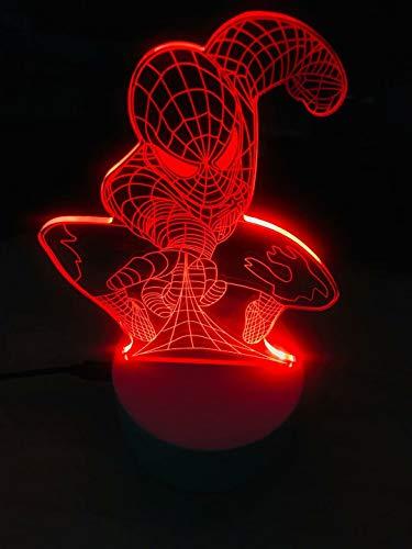 NIGHTLED Luz nocturna 3D para niños, lámpara de ilusión Smart Touch 7 colores cambiantes, mesa de escritorio, dormitorio, decoración de ilusión óptica como un regalo para niños o niñas
