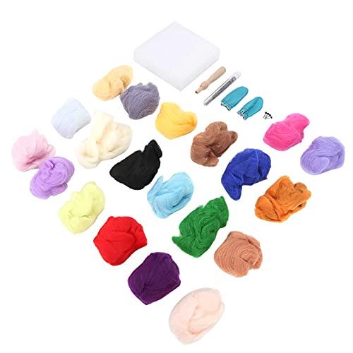 20 Färger Nålullfilt Kit Nålfiltning Ull Roving Ullfiltningstillbehör för Nålfiltning Ull DIY Hantverk