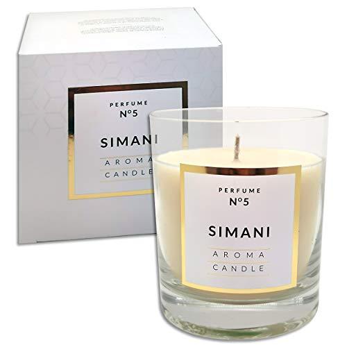 250 g Duftkerze im Glas | 12 Düfte | Duftwachs Kerze mit 114 Std. Brenndauer in edler Geschenkverpackung (Simani N°5)