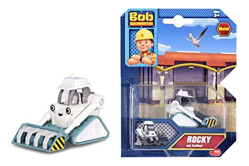Dickie Toys 203131007 Bob der Baumeister Rocky Spielzeugauto mit Freilauf und beweglichen Teilen, 1:64, Grau, 7 cm