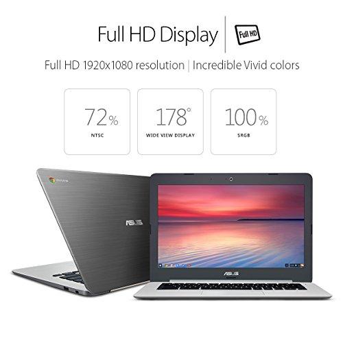 ASUS Chromebook C301SA 13.3 Inch (Intel Quad-Core Celeron, 4GB, 64GB eMMC, Metallic Grey) (Certified Refurbished)