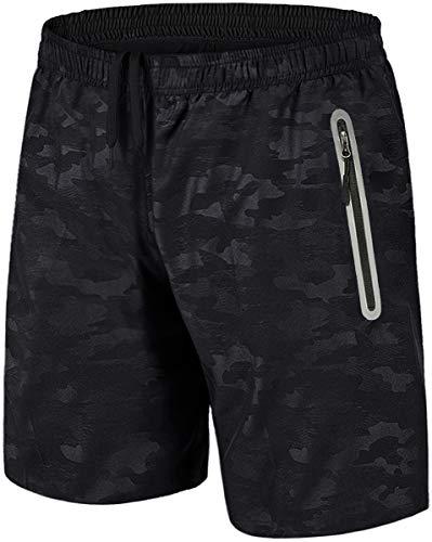 TACVASEN Mens Gym Shorts with Zip Pockets Sports Shorts Mens Training Running Shorts Men Zip Pockets Cycling Shorts Elastic Waist Black Camo