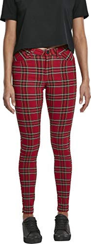 Urban Classics Damen Ladies Skinny Tartan Pants Hose, Mehrfarbig (Red/Blk 00200), W(Herstellergröße: 30)