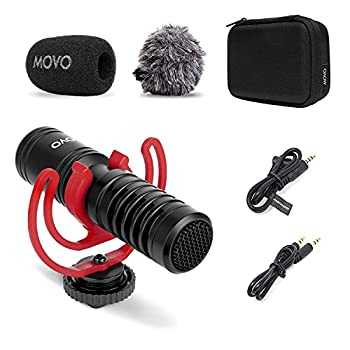 Movo VXR10-PRO External Video Microphone for Camera with Rycote Lyre Shock Mount - Compact Shotgun Mic Compatible with DSLR Cameras and iPhone Android Smartphones - Battery-Free Camera Microphone