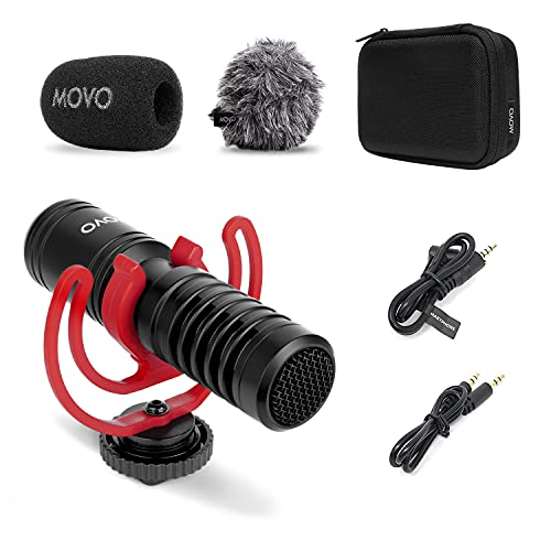 Movo VXR10-PRO External Video Microphone for Camera with Rycote Lyre Shock Mount - Compact Shotgun Mic Compatible with DSLR Cameras and iPhone, Android Smartphones - Battery-Free Camera Microphone