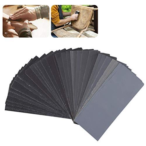 UEETEK 54pcs 60 bis 3000 Korn Sandpapier Sortiment Nass Trockenes Sand Papier für Automotive Schleifen Holz