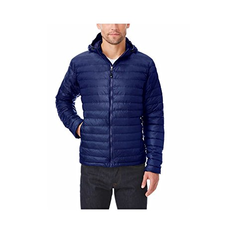 32 Degrees Heat Mens Down Jacket with Hood (L, Navy)