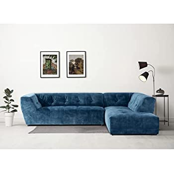 """Acanva Mid-Century Velvet Sectional Sofa Couch for Living Room L-Shape 2-Piece 113""""W Right Hand Facing Chaise Blue"""