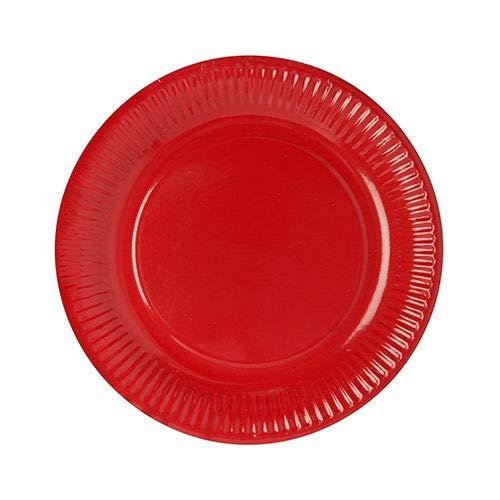 Papstar Pappteller / Einwegteller rot (50 Stück) rund, ø 23 cm aus 100% Frischfaserkarton, für Grillfest, Geburtstag, Buffet oder Party, #11977