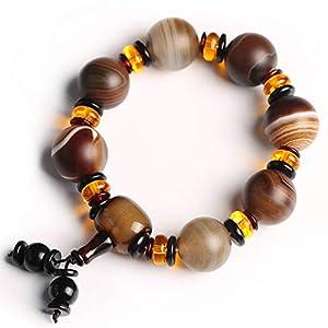 Natürliche Feng Shui Armband gewickelt Sardonyx Armband Tibetan Dzi Perlen Mattes Achat Schmuck Vintage Schmuck Glück Glück Glück Pfirsichblüte Männer