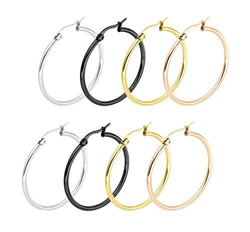 Beydodo 4 Pares/8Pcs 50MM Pendientes Plata/Negro/Oro/Oro Rosa Acero Inoxidable Pendientes de Aro Juegos Pendientes de Mujer Pendientes Para Mujer