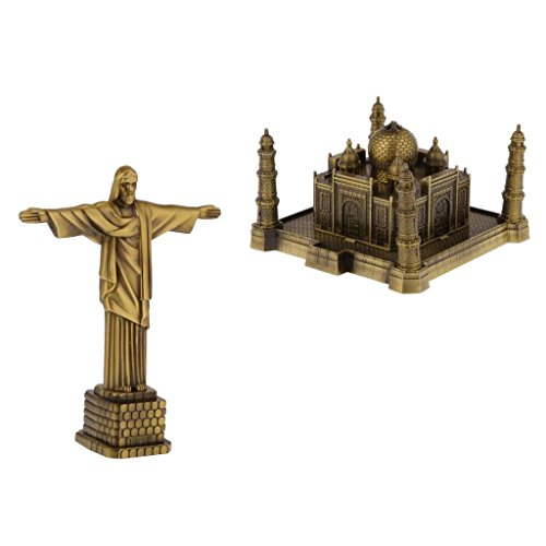 Bronze World Famous Landmark Metal Statue Figurine Models Brazil-Statue of Christ+Taj Mahal Decorative Ornament