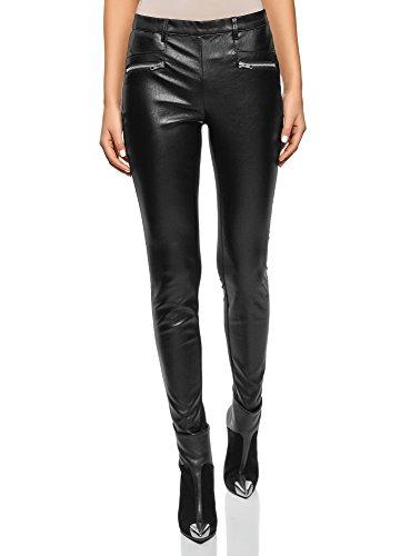 oodji Ultra Mujer Pantalones Combinados con Piel Sintética y Cremalleras, Negro, ES 36 / XS