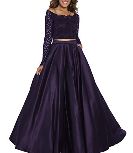 Clothfun Two Piece Prom Dresses Off Shoulder Formal Dresses for Women Evening Party Gowns with Pockets Plum-20w