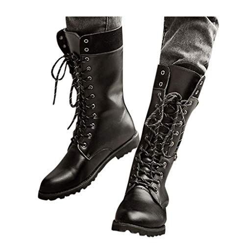 Black Tide High Boots for Mens Casual Engineer Lace Up Buckle Leather Motorcycle Shoes (US:11.5, Black)