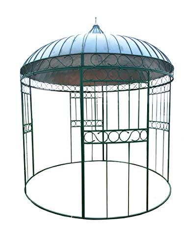 Unbekannte Pergola aus Eisen, grün lackiert, Dach aus Zink. Durchmesser 320 cm