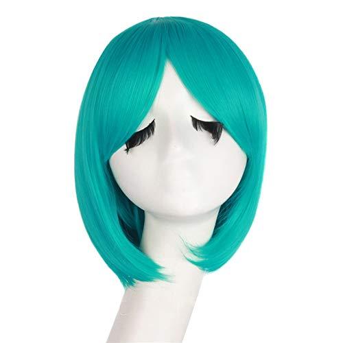 Perruque de Cheveux Synthétique Court Bob Perruques for Les Femmes Cheveux naturels Brown Lin Noir Gris Perruque Bangs Korean Air (Color : Vert, Stret