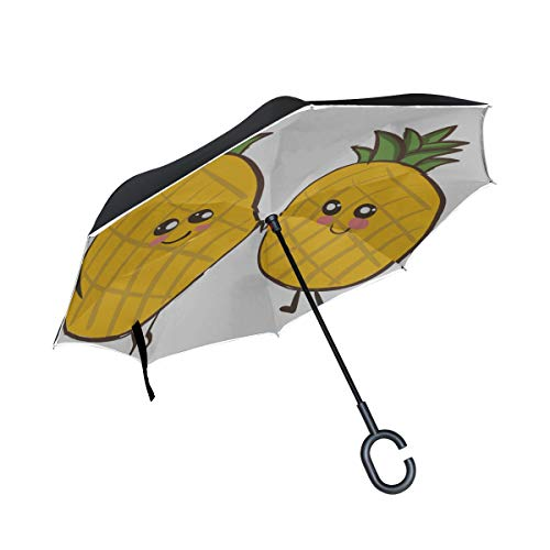 WIEDLKL Double Layer Inverted Best Reverse Umbrella Two Love Pineapples Green Crown Holding Umbrella Inverted Travel Fold Up Umbrellas for Women Windproof Uv Protection for Rain with C-Shaped Handle