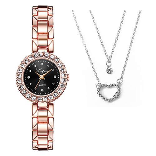 AOXING Reloj de cuarzo casual para mujer, con collar, combinación de regalo, perfecto para niñas y mujeres (C)