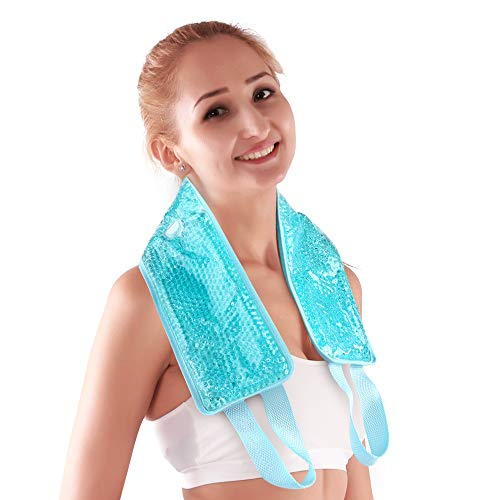 """NEWGO®Neck Ice Pack Cooling Gel Neck Wrap with Soft Plush Backing, Hot Cold Pack Gel Bead Ice Pack for Neck & Shoulder Pain Relief (24.8""""x 4.13"""")- Blue"""