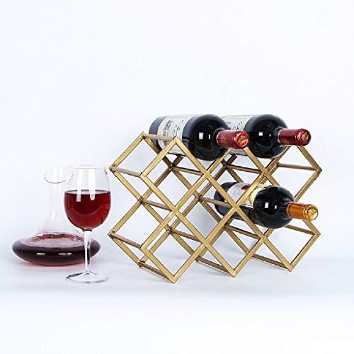 LJUJJ Gestaltet Stand-Alone-Weinregal aus Metall Flaschenregal Küche DREI-Tier-Weinregal, kann bis zu 8 Flaschen Wein Hold Up (Größe: 27 * 36 * 15.5CM) Gold