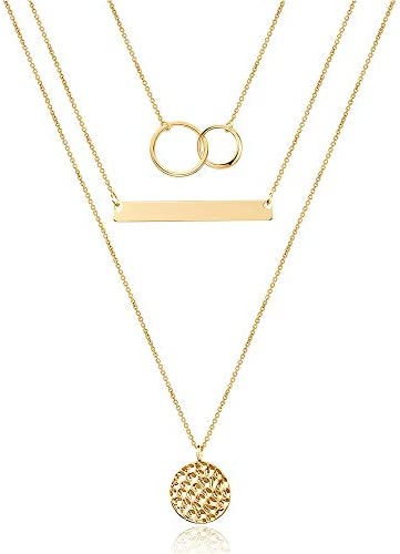 Turandoss Dainty Interlocking Circles Necklace Bar Hammered Disc Necklace 14K Gold Simple Necklace product image