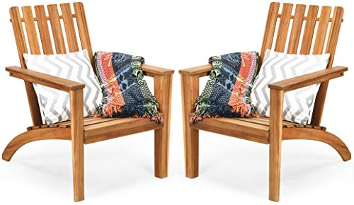 HAPPYGRILL 2PCS Adirondack Chair Outdoor Acacia Wood Classic Adirondack Armchair Ergonomic Lounge Chair for Poolside Balcony Yard Patio Garden