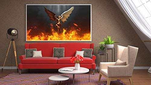 Pintura Impresión de arte en lienzo La bella y la bestiaamor Alas de plumas blancas y negras Carteles e impresiones Cuadro de pared Decoración para el hogar-40x80cm Sin marco