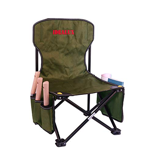 IDEALUX Garden Tools SetGardening Outdoor Folding Camping Chairs with Garden Tool Bag 3 Steel Garden ToolsGardening Seats Gardening Chair Seniors with Garden Folding Stool Lawn Chair(Green)