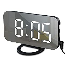 GLOUE Alarm Clock with USB Charger, Digital Alarm Clocks for Bedrooms, Large Mirror Surface, Easy Snooze Function, Dimming Mode, Auto/Manual Adjustable Brightness, Bedside Alarm Clocks (Black/White)
