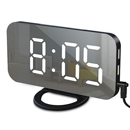 GLOUE Alarm Clock with USB Charger, Digital Alarm Clocks for Bedrooms Large Mirror Surface, Easy Snooze Function, Dimming Mode, Auto Manual Adjustable Brightness Bedside Alarm Clocks (Black White)