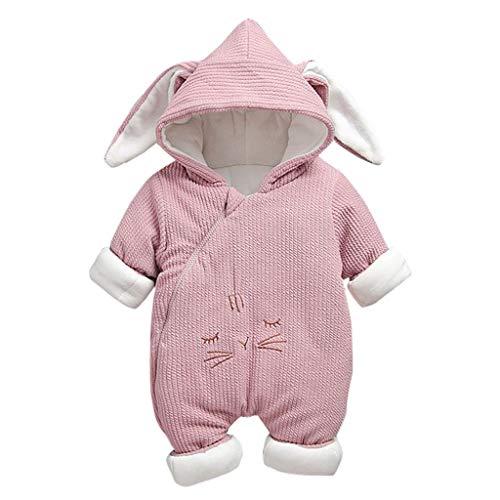 H.eternal(TM) - Mono con Capucha para recién Nacido, para bebé, niño, niña, con Cremallera, diseño de Orejas de Conejo Rosa Rosa M