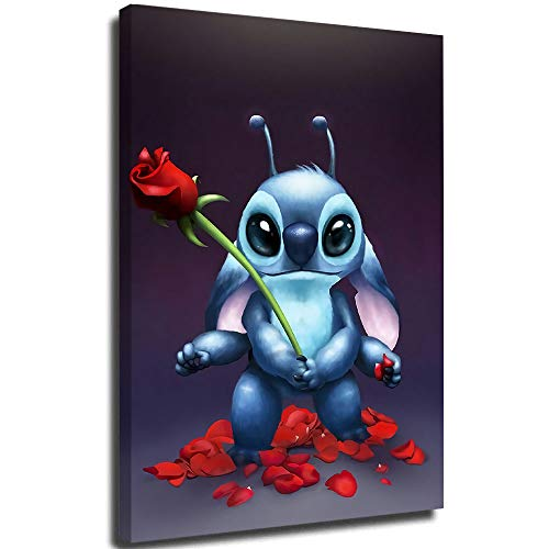 Lilo and Stitch Stitch with Roses Abstract Painting Wall Art Framed Wall Art Modern Artwork for Living Room Bedroom Decoration 18x24 inch