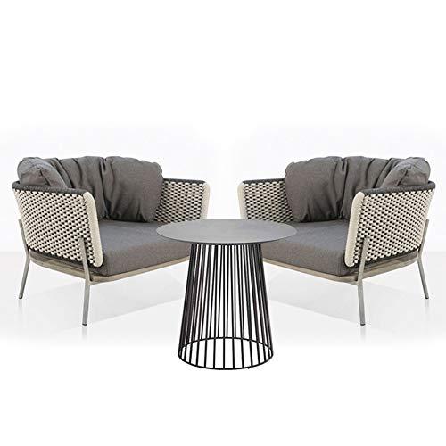 DZWJ Juegos de Muebles de Patio al Aire Libre de 3 Piezas, sofá de Cuerda Trenzada al Aire Libre y Kit de Mesa de café para Patio Trasero, Porche, jardín, balcón