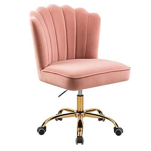 Schreibtischstuhl / Schminkstuhl rosa Samt goldene Bein, Drehstuhl, Bürostuhl ohne Armlehne mit Rollen höhenverstellbar drehbar...