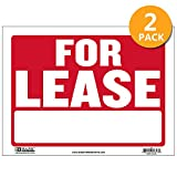 BAZIC 12' X 16' for Lease Sign, for Rent Rental House Home Apartment Car Auto Store Shops Business Waterproof Indoor Outdoor Store Wall Door Signage, 2-Pack