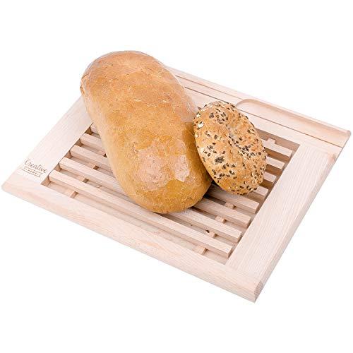 Creative Home Brot-Schneidebrett mit Krümelfang aus Buche-Holz | 35,5 x 28,5 x 2 cm | Praktisches Krümelbrett und Platz fürs Messer | Schneidebrett mit Gitter | Perfektes Brot-Brett mit Auffangschale