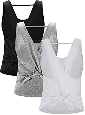 RUNNING GIRL Women's Cross Back Yoga Shirts Activewear Workout Clothes Scoop Neck 3 Pack Racerback Tank Tops