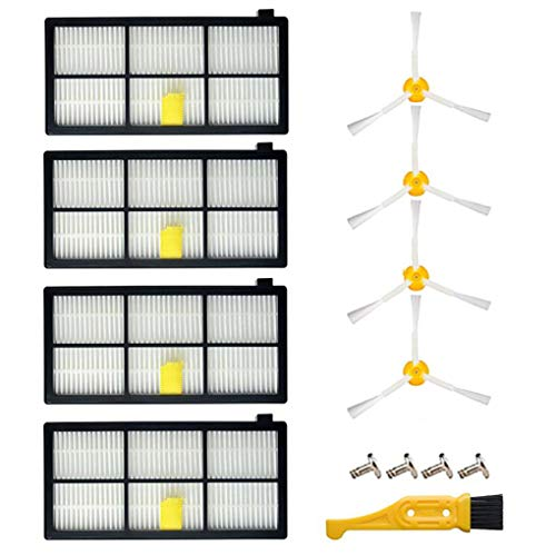 WQSZ Replacement Parts for iRobot Roomba 800 900 Series 860 870 871 880 890 805 960 980 Vacuums Accessories -4 Filters & 4 Side Brushes