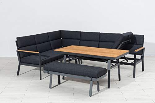 Mandalika Garden Hohe Dining Aluminium Lounge Nara Links Polywood, inklusive XL Bank und wasserabweisender Kissen