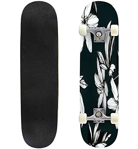 """Bright Botanical Black and White Silhouette Pattern Noble Flower Skateboard 31""""x8"""" Double-Warped Skateboards Outdoor Street Sports Skateboard for Beginners Professionals Cool Adult Teen Gifts"""