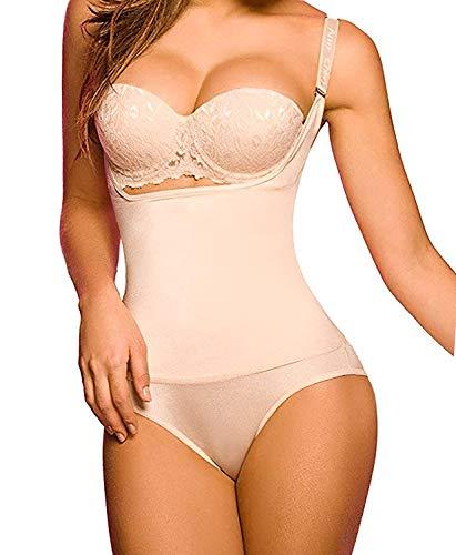 Shaperx Frauen-Formwäsche, Bauchkontrolle, Bodyshaper mit offener Brust, für einen schlankeren Körper -  Beige -  XXX-Large