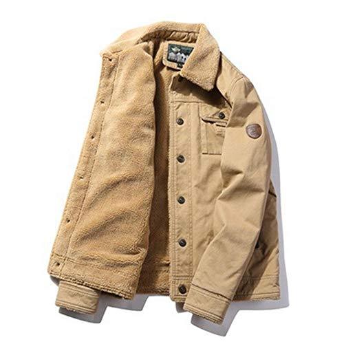 URPRU Jacke Men Imitiert Lammfell Jacke Men Winter Dickes Pelzhalsband Plus Fleece Tooling Bomberjacke Baumwolljacke-braun_XXXXL