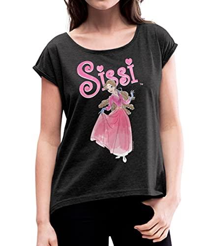 Sissi im Ballkleid Frauen T-Shirt mit gerollten Ärmeln, XL, Schwarz meliert