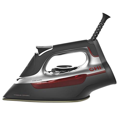 CHI Steam Iron for Clothes with Titanium Infused Ceramic Soleplate, 1700 Watts, XL 10' Cord, 3-Way...