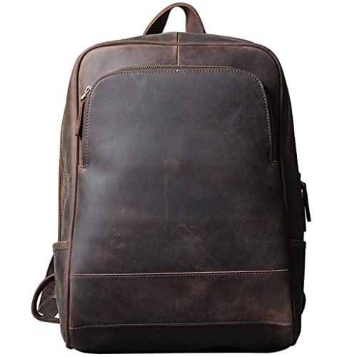 WQXD Hombres Mochila de Cuero Genuina Vintage 14 Pulgadas Laptop Laptop Bolso Bookbag Rucksack Mochila de Fin de Semana Casual Travel Daypack Café Profundo (Color : Deep Coffee, tamaño : One Size)
